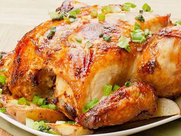 Курица в духовке с яблоками корочкой рецепт